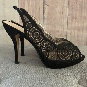Caparros Shoes Black Lace Heels Size 9 Poshmark